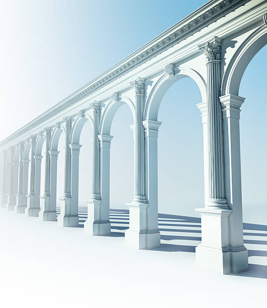 Classical colonnade with arcades and Corinthian columns stock photo
