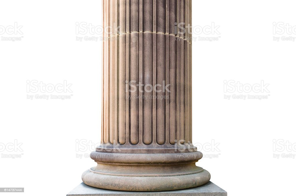 Classical Column isolated on white background, clipping path, copy space stock photo
