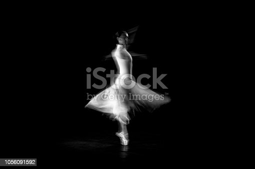 istock classical dancer dancing on the lack background with white dressed 1056091592