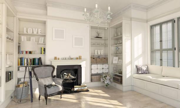 klassische gestaltete wohnzimmer interior - kamin weiß stock-fotos und bilder