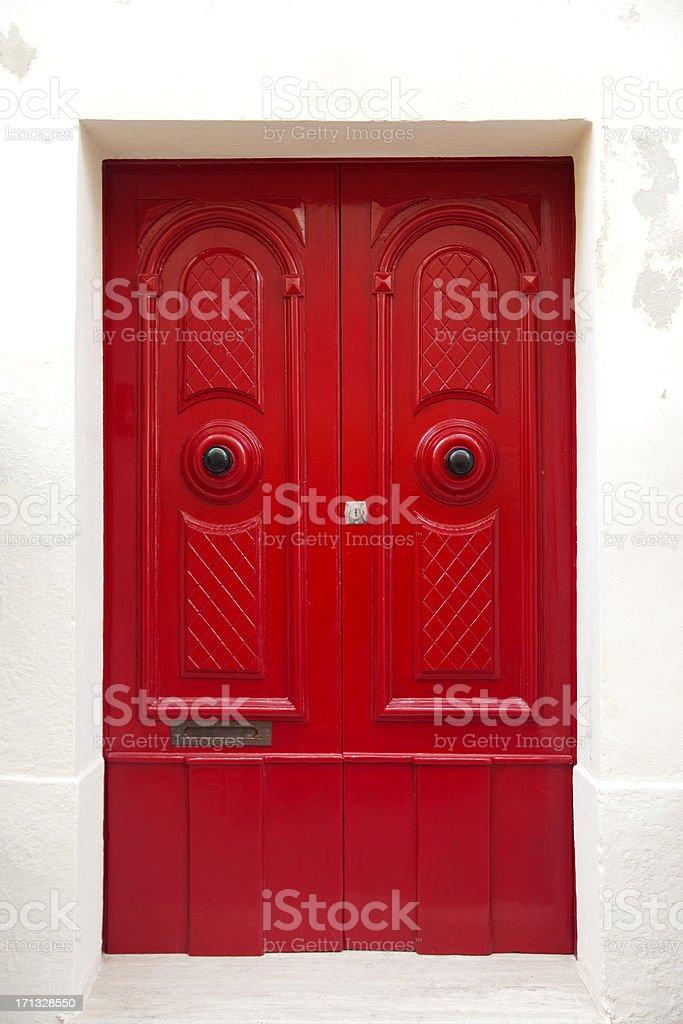 Classical door in Malta stock photo
