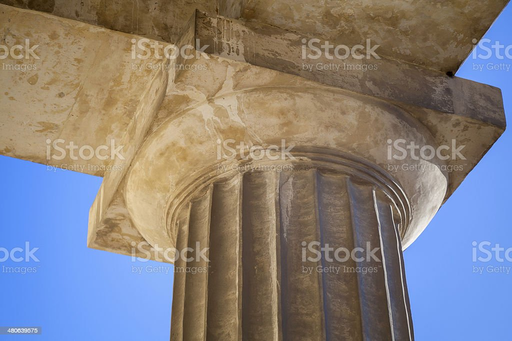 Classical Doric order example with upper part of column stock photo
