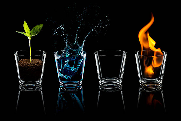 classical element - earth water air fire glass four - conceptual symbol stock pictures, royalty-free photos & images