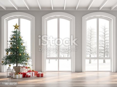 istock Classical empty room decorate with christmas tree 3d render 1185130731