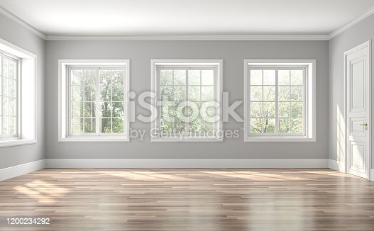 istock Classical empty room interior 3d render 1200234292