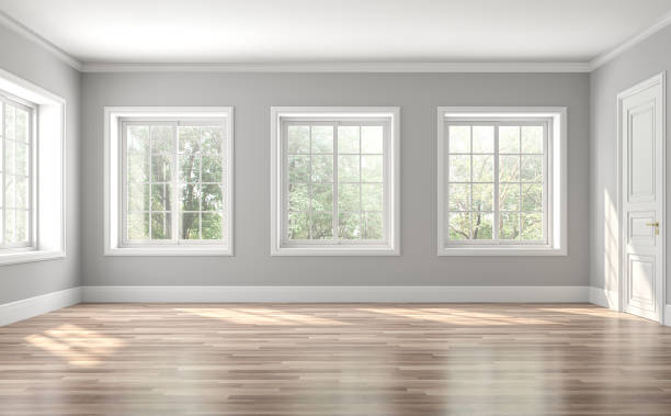 Classical empty room interior 3d render Classical empty room interior 3d render,The rooms have wooden floors and gray walls ,decorate with white moulding,there are white window looking out to the nature view. domestic room stock pictures, royalty-free photos & images
