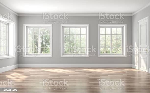 Photo of Classical empty room interior 3d render