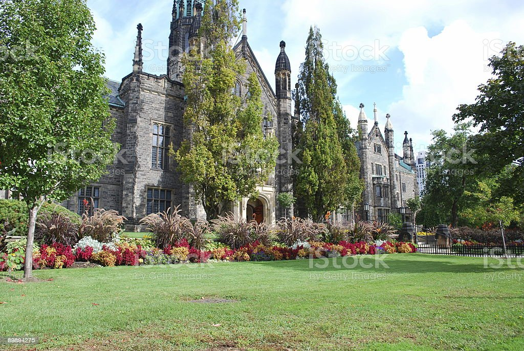 Classical English Garden at Trinity College, University of Toronto royalty-free stock photo