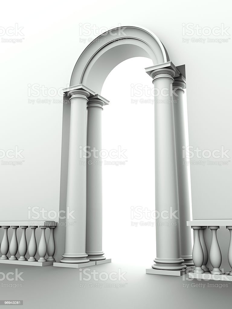 classical entrance with arc, columns and balustrade royalty-free stock photo