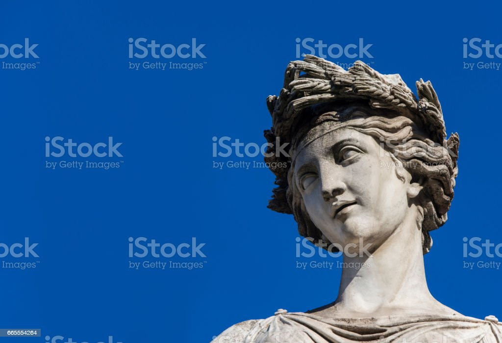 Classical Goddess (with blue sky and copy space) stock photo