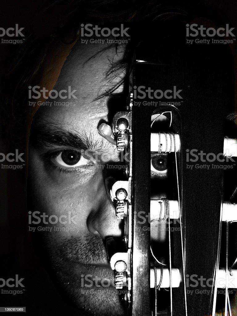 Classical Guitar Face stock photo