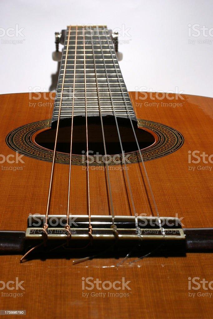 Classical guitar fretboard stock photo