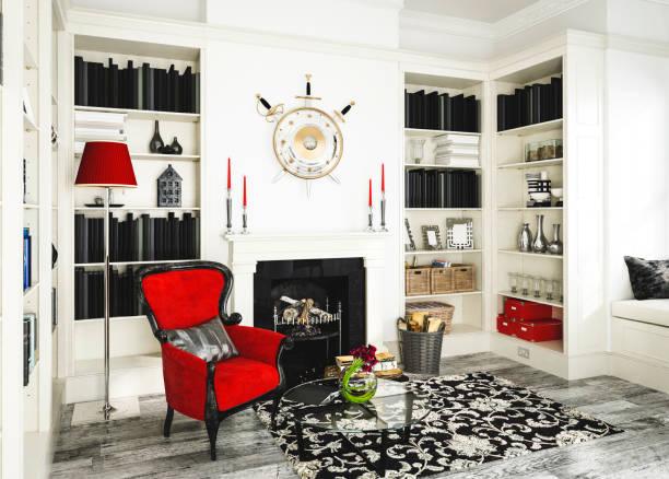 klassische home interior design - regal schwarz stock-fotos und bilder