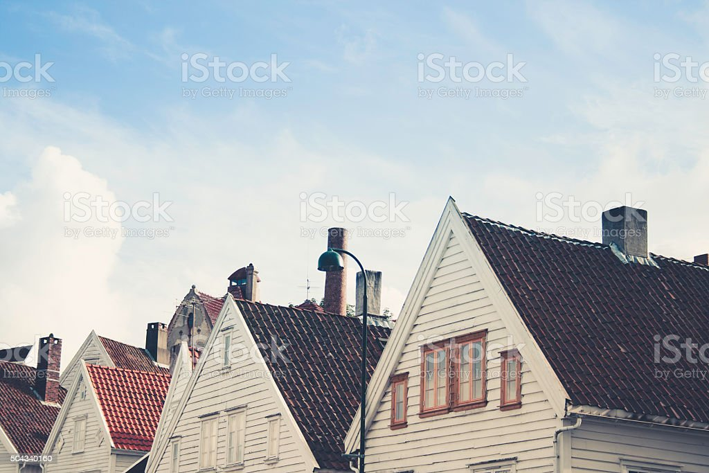Classical houses and sky stock photo