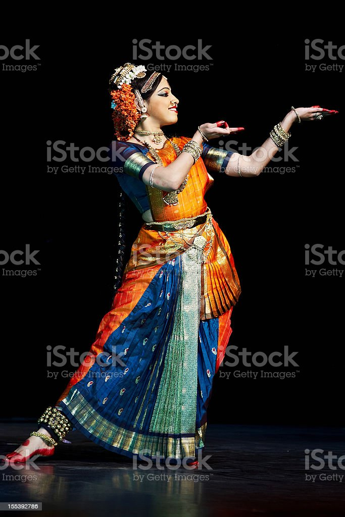 Classical Indian Kuchipudi Dancer stock photo