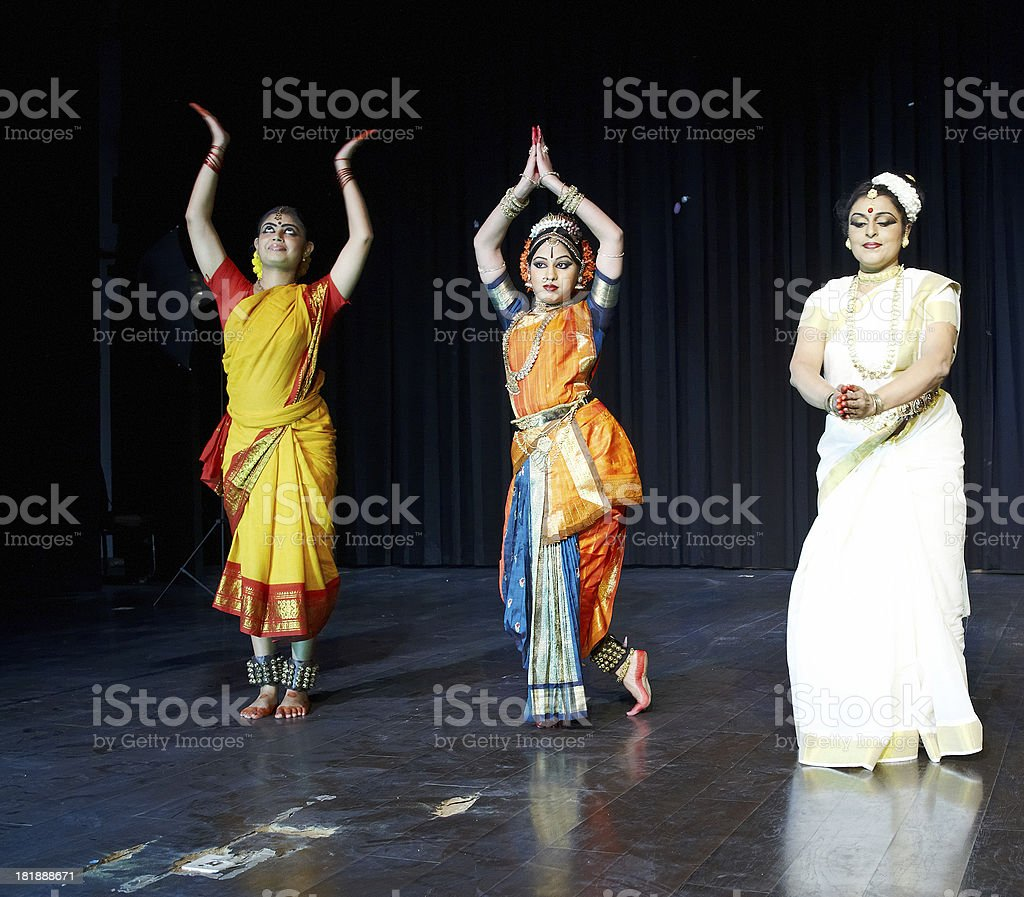 Classical Indian Kuchipudi Dancers giving stage performance royalty-free stock photo