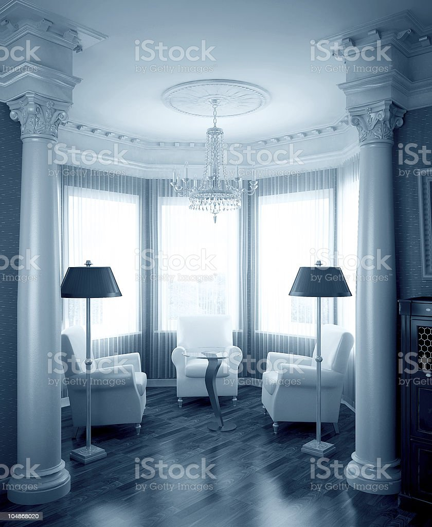 Classical interior in blue royalty-free stock photo
