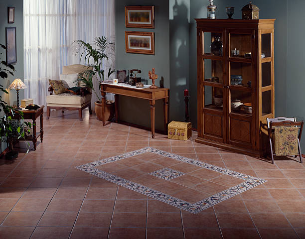 Classical Living Room Countryside room with ceramic tiles on the floor grifare stock pictures, royalty-free photos & images