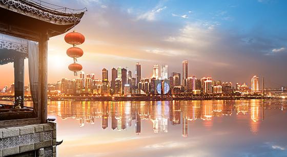 Classical loft and modern city skyline in China Chongqing