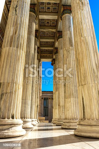 istock Classical marble pillars detail on the facade of National Academy of Athens 1094028318
