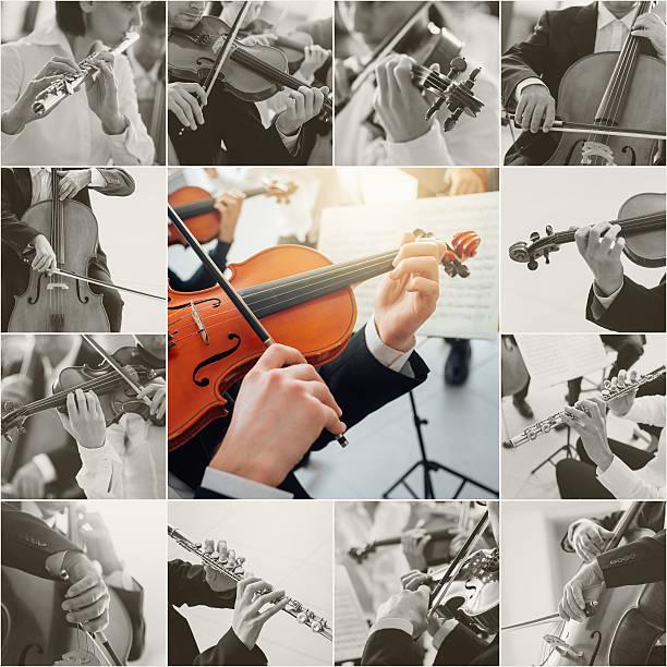 classical music collage - philharmonie stock-fotos und bilder