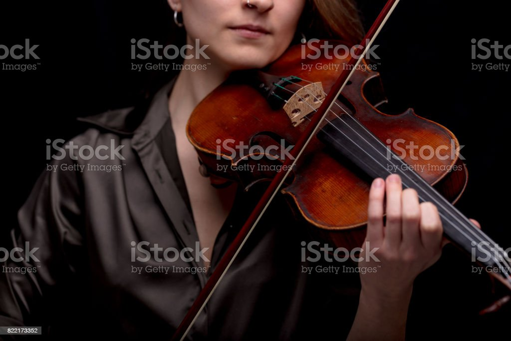 classical music concept with unrecognizable violinist stock photo