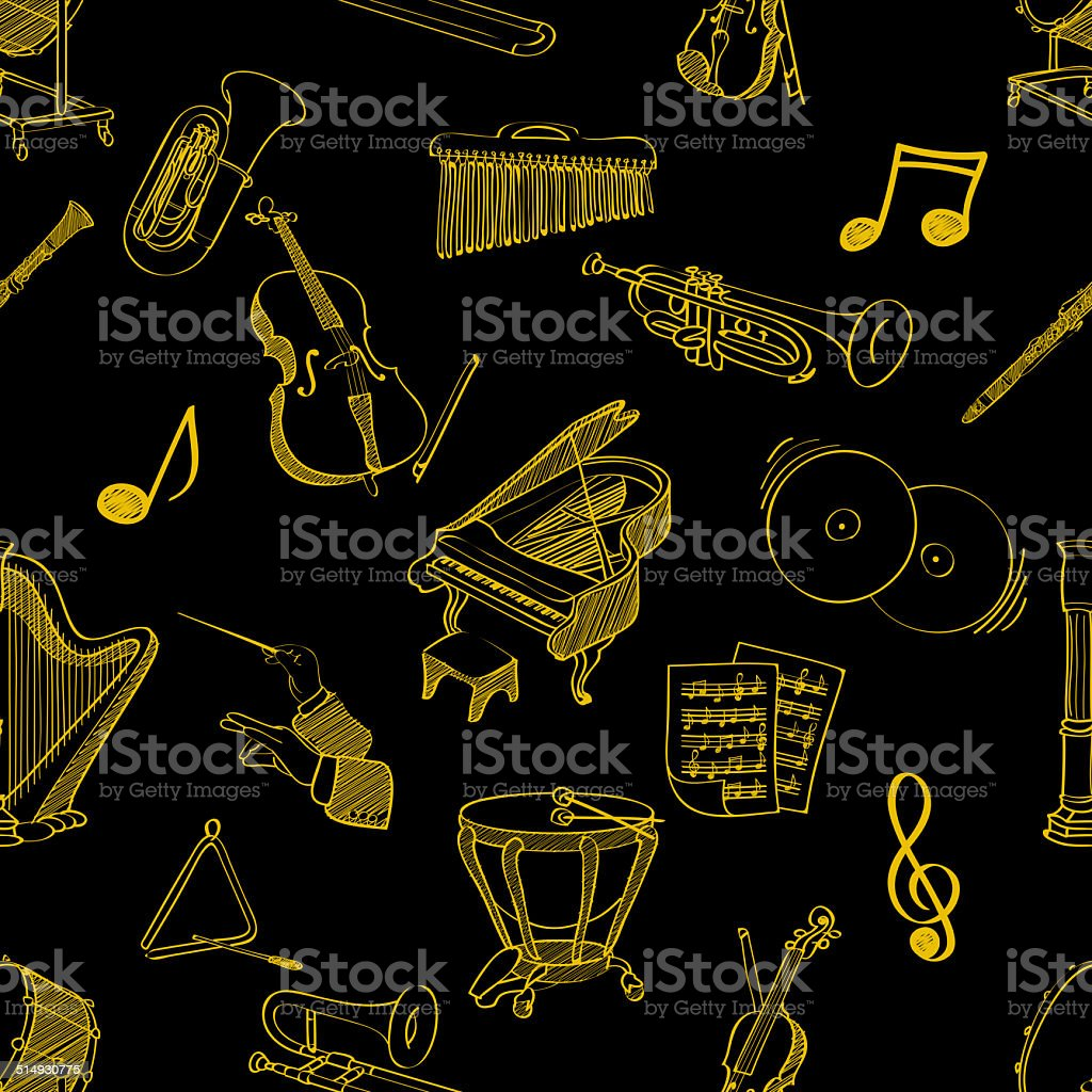 classical music stuff seamless pattern stock photo