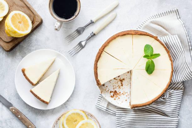 Classical New York Cheesecake On White Background stock photo