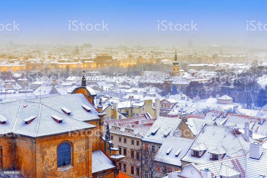 Classical night winter scenery of Prague stock photo
