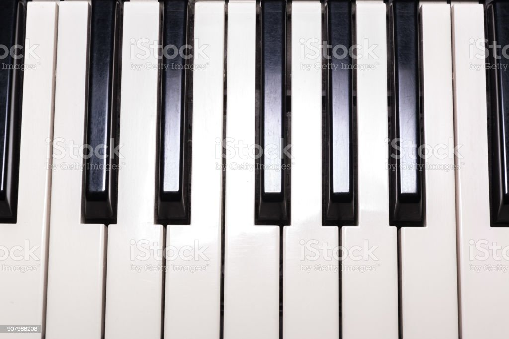 Classical piano black and white keybord background. stock photo