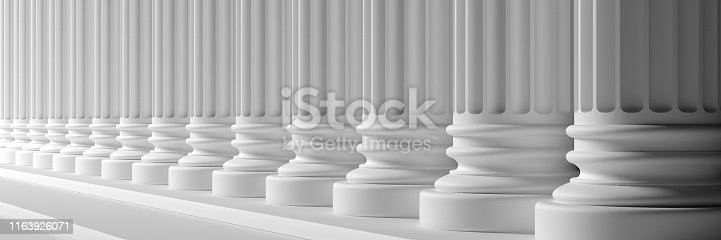 istock Classical pillars white color marble. 3d illustration 1163926071
