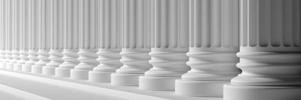 Klassische Säulen weiße Farbe Marmor. 3D-Illustration – Foto