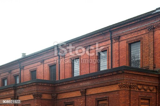 side view of classical red brick British building architecture
