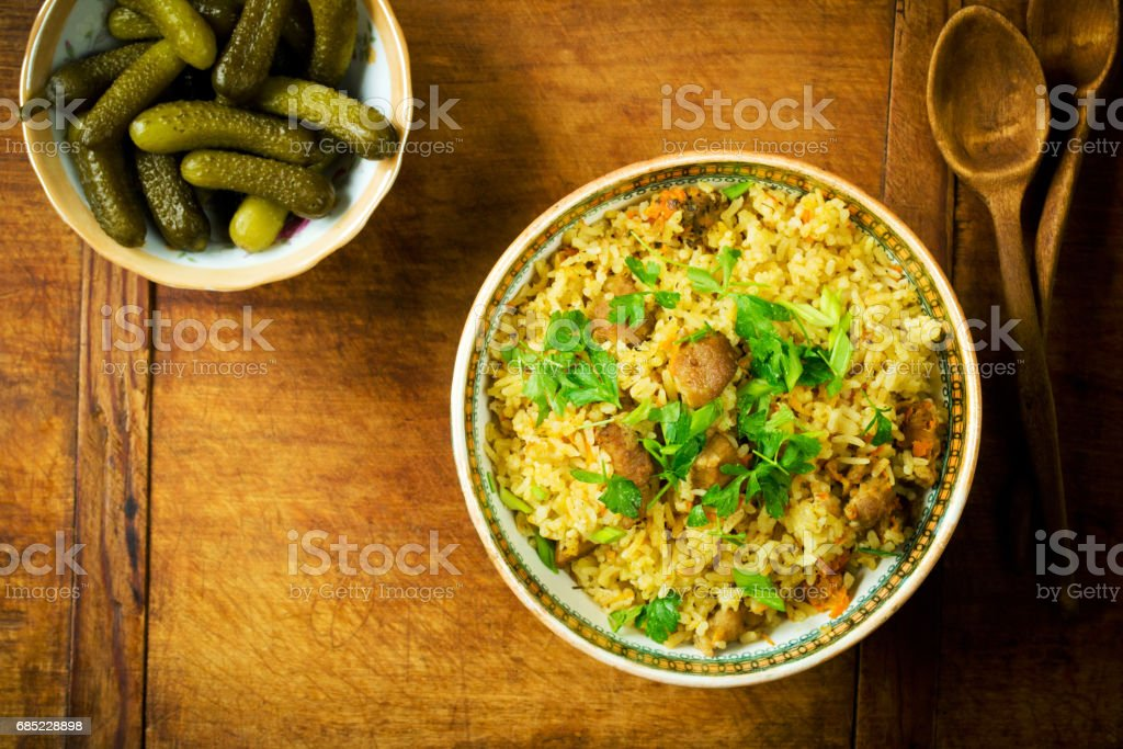 Classical rice with meat foto de stock royalty-free