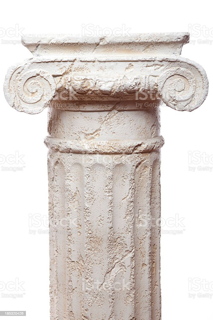 Classical scroll architectural pillar against white backdrop stock photo