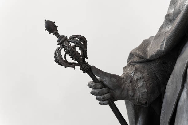 classical statue with hand holding a scepter stock photo
