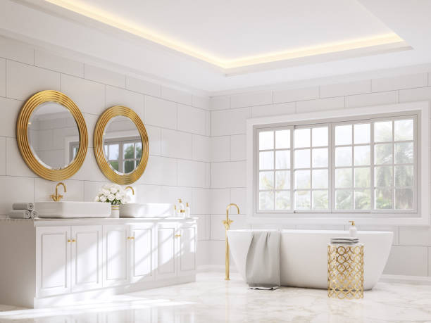 Classical style bathroom with white and gold 3d render stock photo