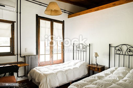 Image of a classical style bed room of a resort room with white walls