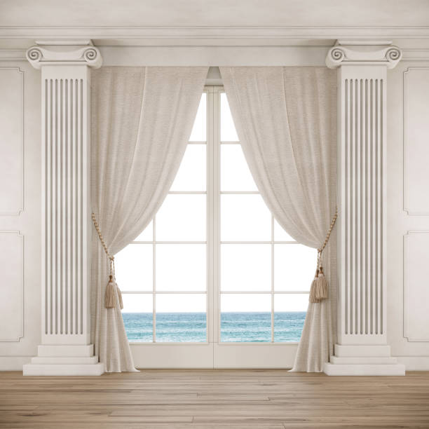 Classical style room with big window, curtains and columns. Classical style room with big window, curtains, column and wooden floor. arch architectural feature stock pictures, royalty-free photos & images