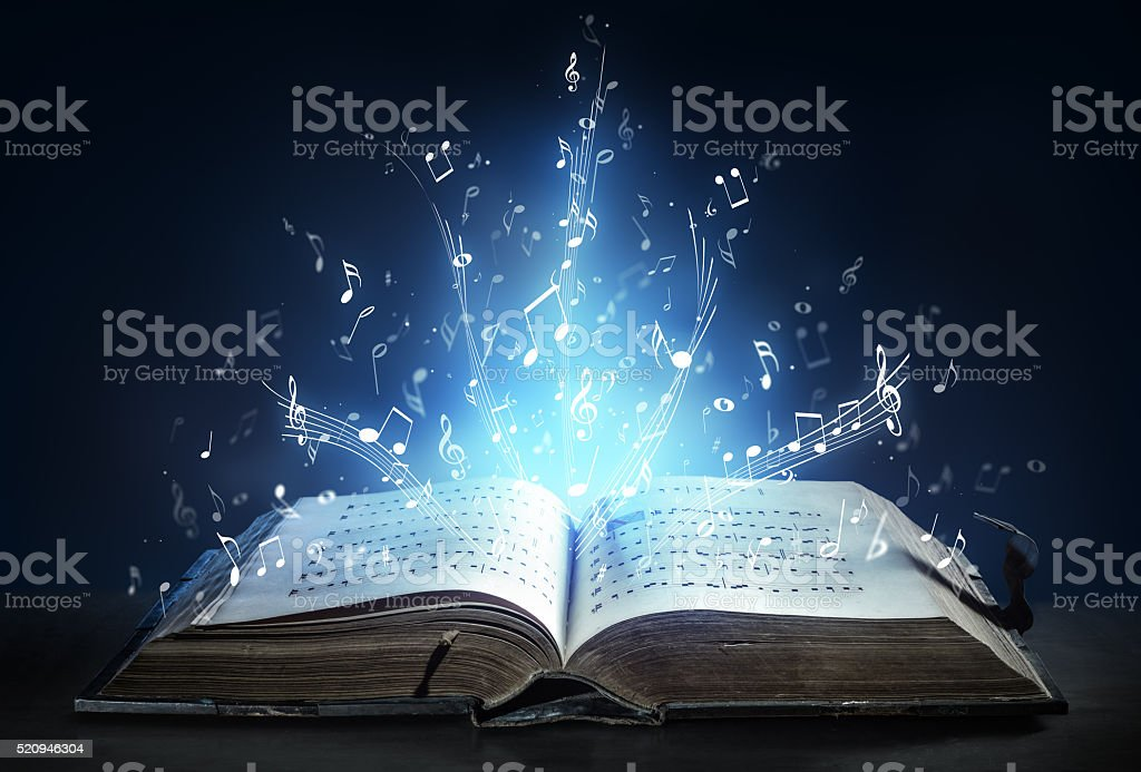 Classical Symphony Shines With Musical Notes From An Ancient Book stock photo