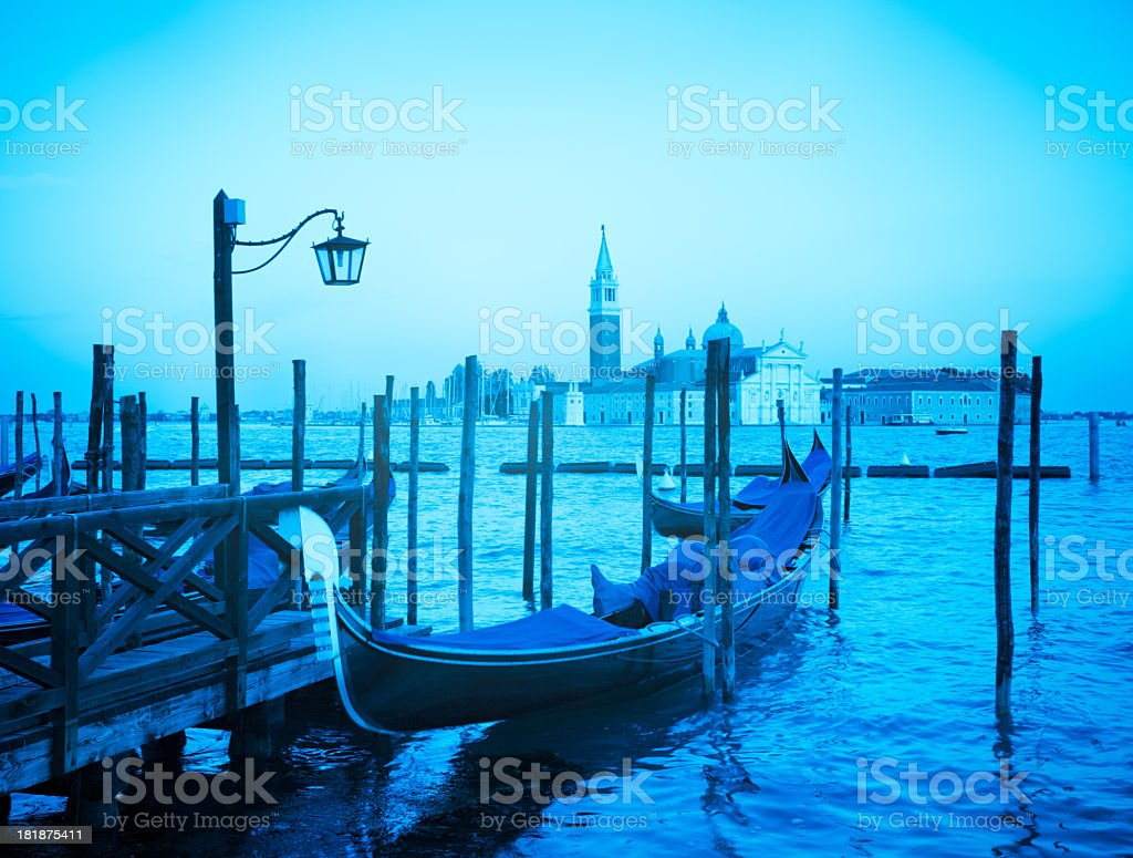 Classical Venice view with gondola royalty-free stock photo
