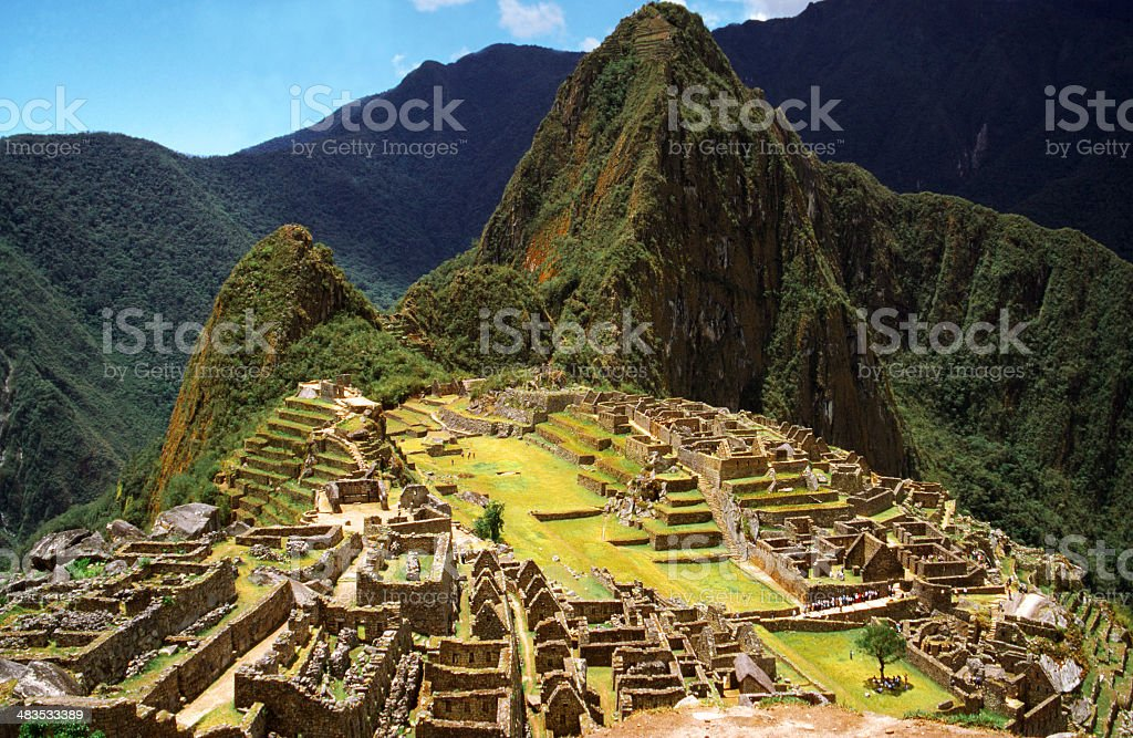 Classical view of Machu Picchu ruins stock photo