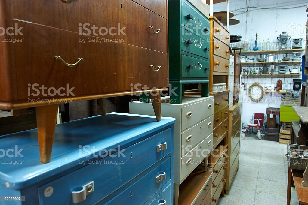 Classical vintage antiques shop stock photo