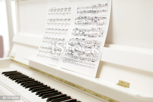 music notes sheet put on a white beauty piano