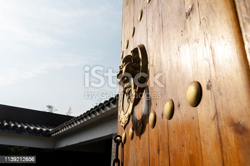 classical wooden gate of Chinese architecture