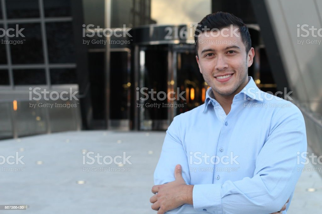 Classically good looking male isolated stock photo
