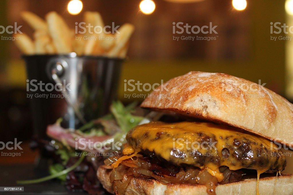 Classic-Cheeseburger stock photo