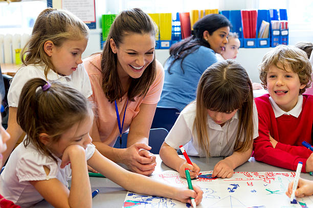 Classmates Drawing Together A classroom of young boys and girls drawing on one large piece of paper. The children are wearing school uniform while their teacher watches. elementary school stock pictures, royalty-free photos & images
