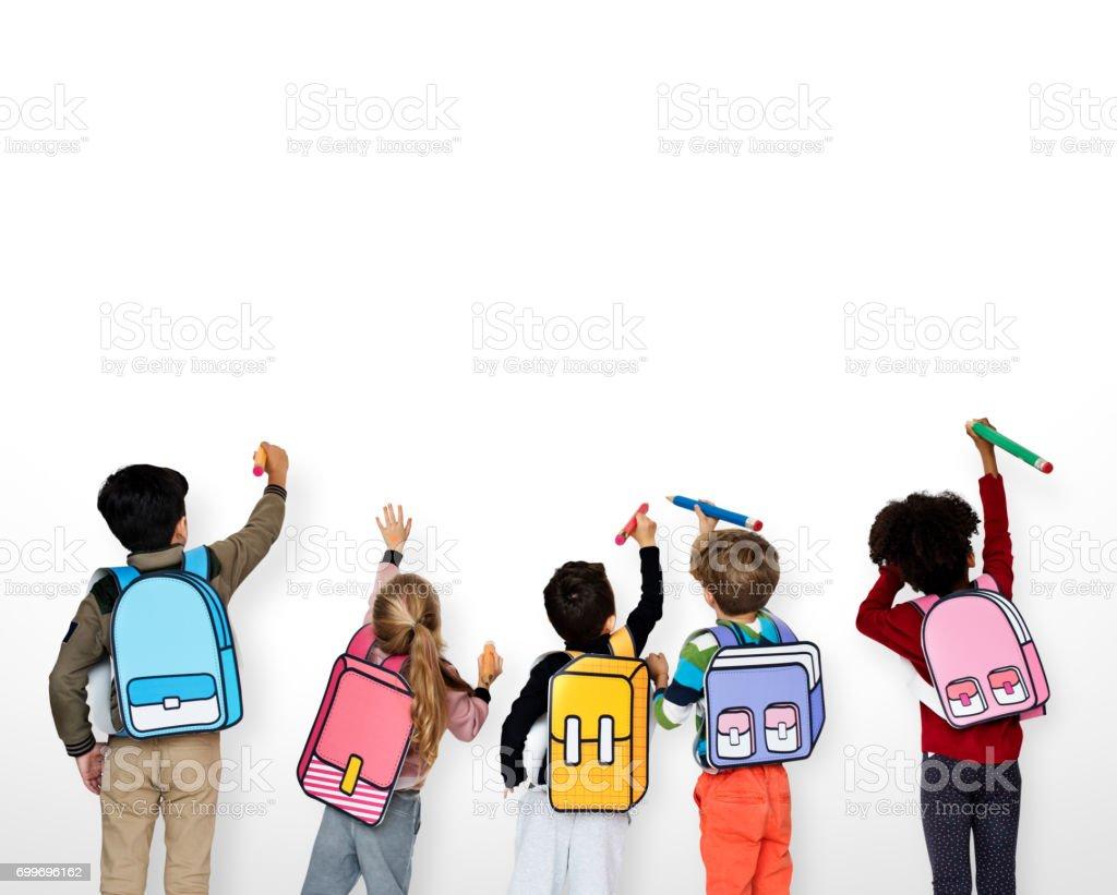 Classmates Friends Bag School Education stock photo