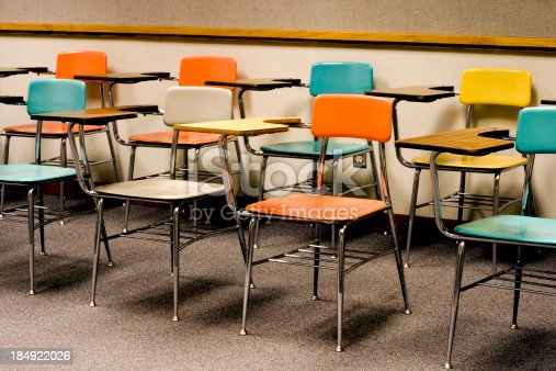 colorful retro classroom chairs